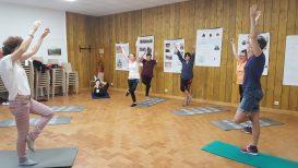 Exercices physiques en salle de gym au sein du domaine d'Ussat les Bains.